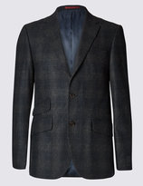 Marks And Spencer Wool Blend Tailored Fit Check 2 Button Subtle Jacket