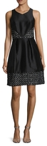 Theia Embroidered Contrast Fit And Flare Dress