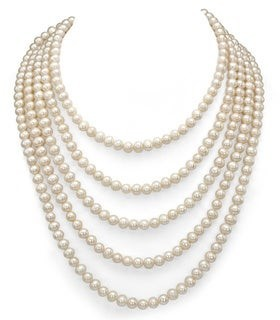 DaVonna 5-6mm White Semi-round Freshwater Pearl Endless Necklace 100-inch