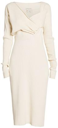 Bottega Veneta Twist Front Ribbed Midi Dress