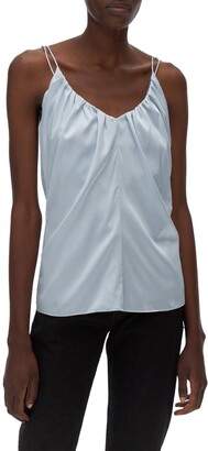 Helmut Lang Ruched Stretch Silk Camisole