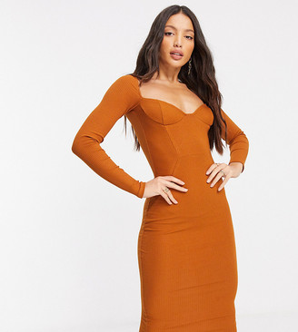 Asos Tall ASOS DESIGN Tall off shoulder rib panelled long sleeve midi dress in caramel