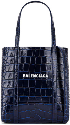 Balenciaga XXS Embossed Croc Everyday Tote in Navy | FWRD