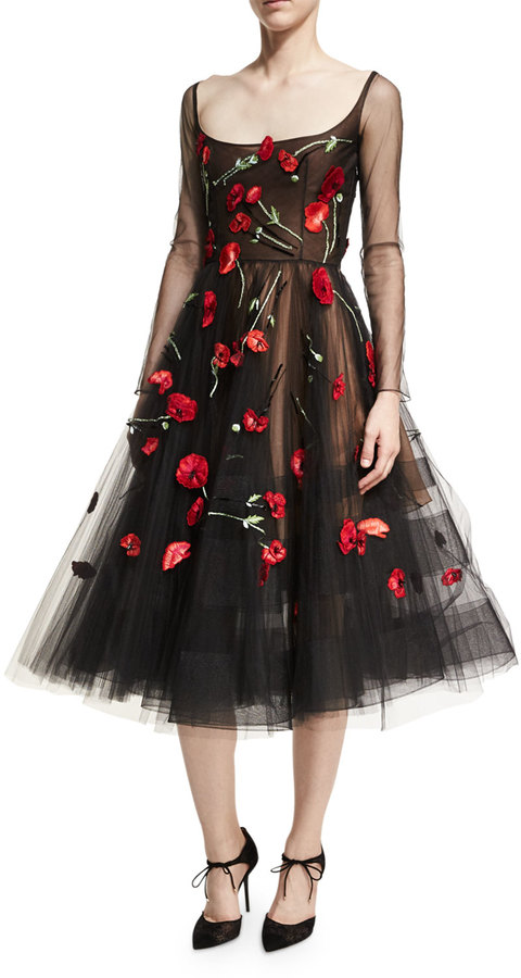 Oscar de la Renta Poppy-Embroidered Tulle Cocktail Dress