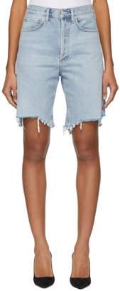 A Gold E Agolde AGOLDE Blue Denim 90s Mid Rise Loose Shorts