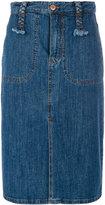 See by Chloe long denim skirt with braided belt loops - women - Cotton/Spandex/Elastane - 36