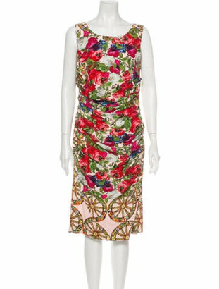 Dolce & Gabbana Rose & Carretto Midi Length Dress Rose