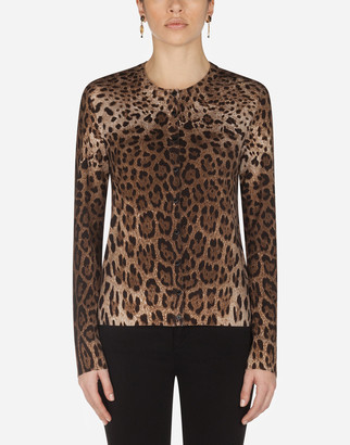 Dolce & Gabbana Woolen Cardigan With Leopard Print