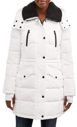 F.O.G. Women's Long Puffer with Snap Front Closure