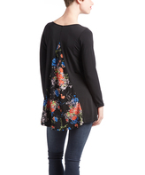 Glam Black & Coral Back-Panel Maternity Tunic