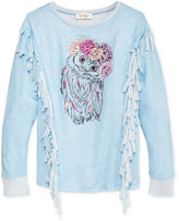 Jessica Simpson Owl Graphic Fringed Sweater, Big Girls (7-16)