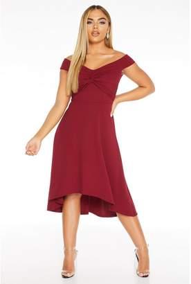 Quiz Berry Bardot Knot Front Dip Hem Dress