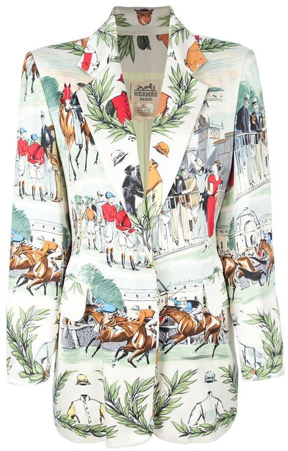 Hermes Vintage horse racing print jacket