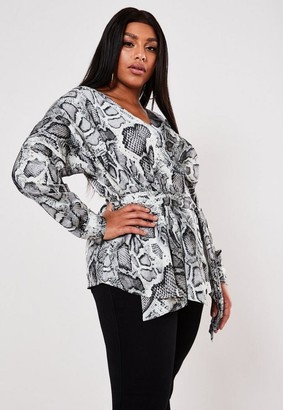 Missguided Plus Size Gray Snake Print Tie Wrap Blouse