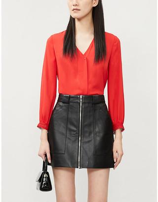 Claudie Pierlot Lace-embellished chiffon blouse