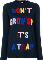 Love Moschino quote embroidered jumper