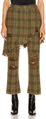 R 13 Double Classic Trouser in Green Plaid | FWRD