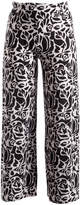 Glam Black & White Graphic-Floral Palazzo Pants - Plus