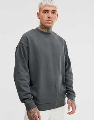 Asos Design DESIGN oversized sweatshirt in washed black