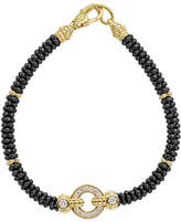 Lagos 12mm Circle Game Black Caviar Bracelet with Diamonds