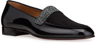 Christian Louboutin Men's Salva Notte Patent Leather Red Sole Strass Loafers