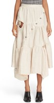 Marques Almeida Women's Marques'Almeida Diagonal Snap Tiered Linen Skirt
