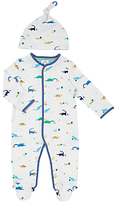 John Lewis Dinosaur Print Sleepsuit And Hat Set, Blue/White
