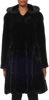Gorski Hooded Reversible Sheared-Mink Taffeta Mid-Length Coat