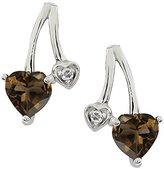 Gem Stone King 0.89 Ct Heart Shape Brown Smoky Quartz and Topaz 14k White Gold Earrings