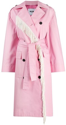 MSGM Floral-Panel Trench Coat