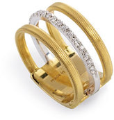 Marco Bicego Masai Three-Row 18K White & Yellow Ring with Diamonds