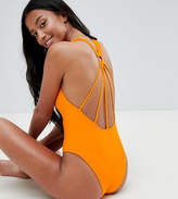 Asos DESIGN Petite Strappy Ring Back Swimsuit