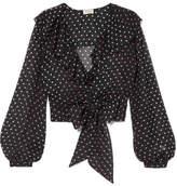 Temperley London Ruffled Polka-dot Silk-chiffon Blouse