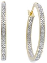 Townsend Victoria Rose-Cut Diamond Hoop Earrings in 18k Gold over Sterling Silver or Sterling Silver (1/4 ct. t.w.), 26.50mm