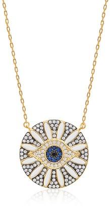 GABIRIELLE JEWELRY 14K Gold Vermeil Cubic Zirconia Flower Blossom Evil Eye Necklace