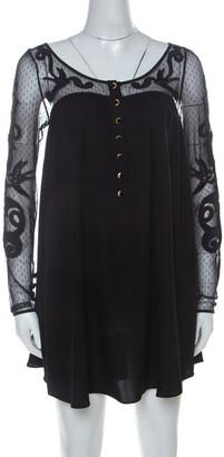 Temperley London Black Silk Blend Embroidered Net Yoke Tunic S
