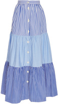MDS Stripes Mix Tiered Peasant Skirt