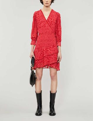 AllSaints Keva woven midi wrap dress