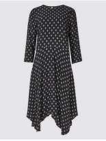 M&S Collection Tile Print 3/4 Sleeve Skater Midi Dress