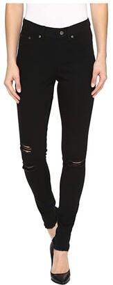 Hue Ripped Knee Denim Leggings (Black) Women's Jeans