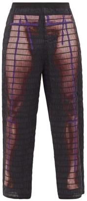 Craig Green Elastic-quilted Body-print Cotton Trousers - Mens - Purple