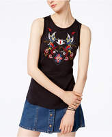 Carbon Copy Embroidered Tulip-Back Cotton Tank Top