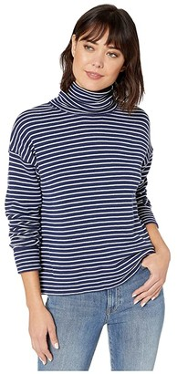 Vineyard Vines Funnel Neck Terry Top (Deep Bay) Women's Sweatshirt