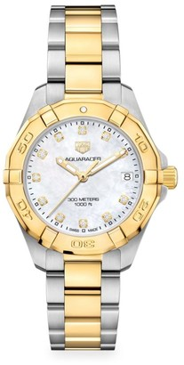 Tag Heuer Aquaracer 32MM Stainless Steel, Yellow Goldplated, Diamond & Mother-of-Pearl Quartz Bracelet Watch