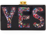 Edie Parker Jean Glittered Yes Box Clutch, Black