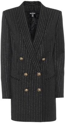 Balmain Wool-blend blazer minidress