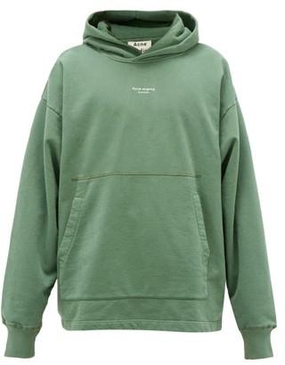 Acne Studios Franklin Logo-print Cotton Hooded Sweatshirt - Mens - Green