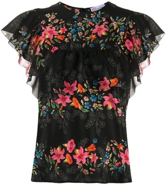 RED Valentino Silk Flower Print Top