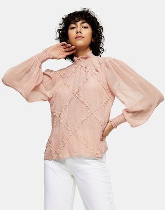 Topshop lace trim blouse in blush