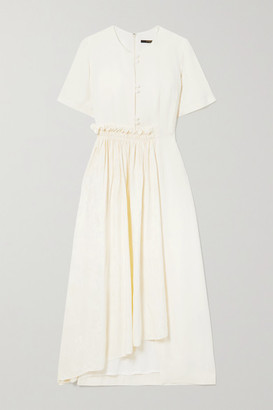 Mother of Pearl + Net Sustain Meadow Asymmetric Crepe And Floral-jacquard Midi Dress - Off-white